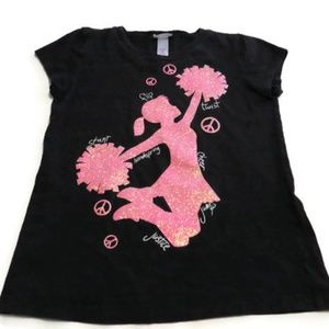 Justice Cheerleader T-Shirt Sparkle Peace Signs 8